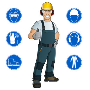 Trabajador con señales de obligación